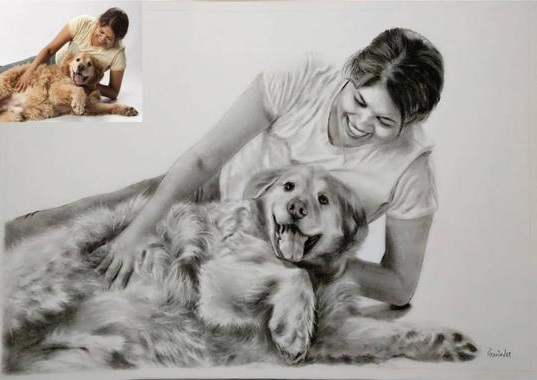 Charcoal Sketch as dog birthday gift