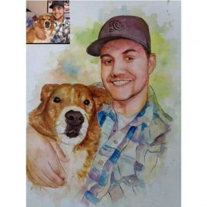 Custom Pet Portrait in Water Color as gift