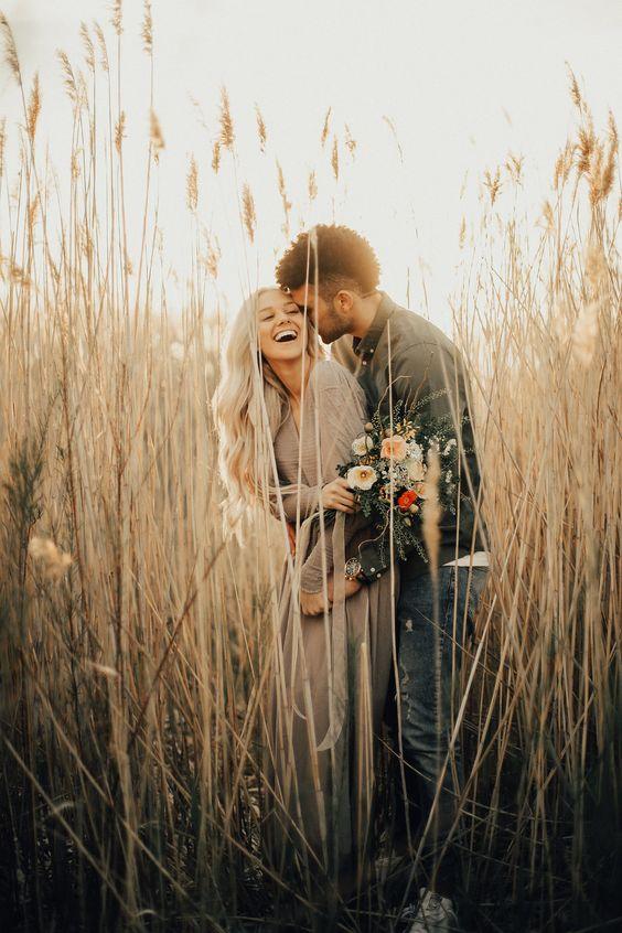 Couple portrait with flowers