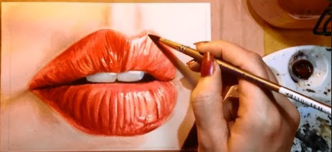 Watercolor portrait Painting the lips