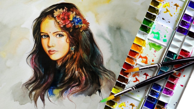 Watercolor portrait Painting The Face