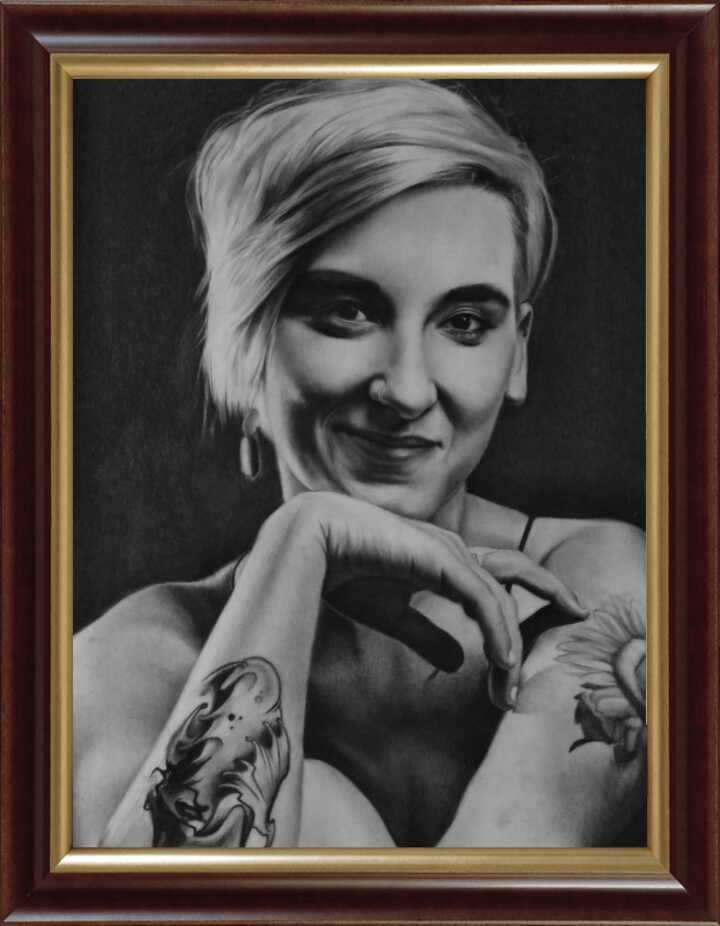 Framed Charcoal sketch
