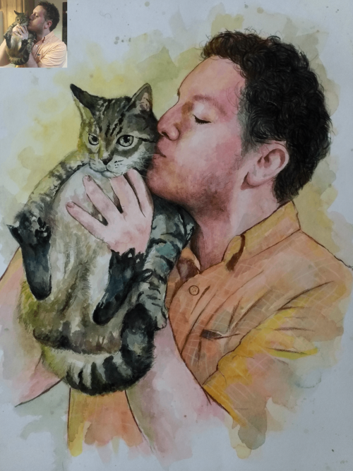 Watercolor Pet Portrait (Pet loss Gift)