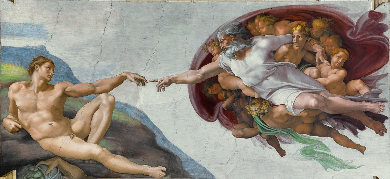 The Creation of Adam, detail of the ceiling fresco by Michelangelo, 1508–12; in the Sistine Chapel, Vatican City.