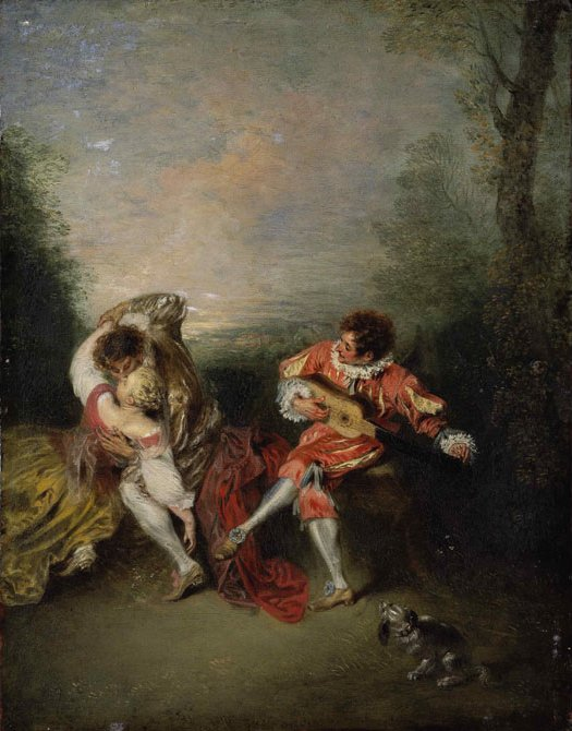 La Surprise by Antoine Watteau (Romantic Paintings)