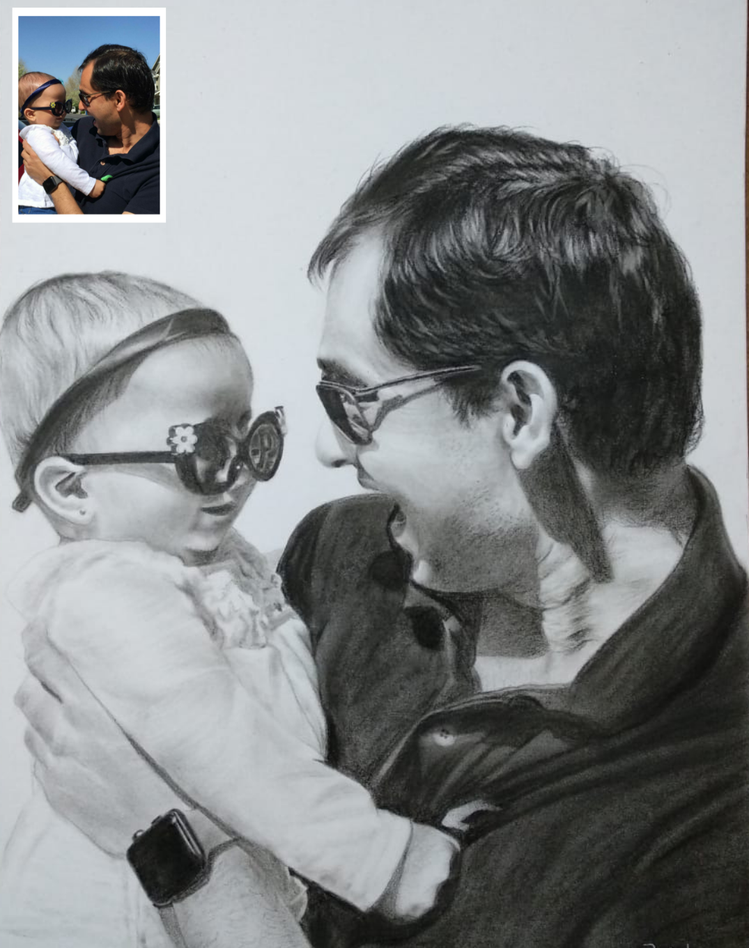 Handmade Charcoal Baby Painting