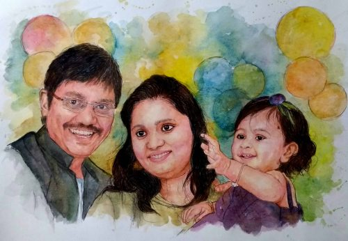 Handmade Watercolor Baby Painting