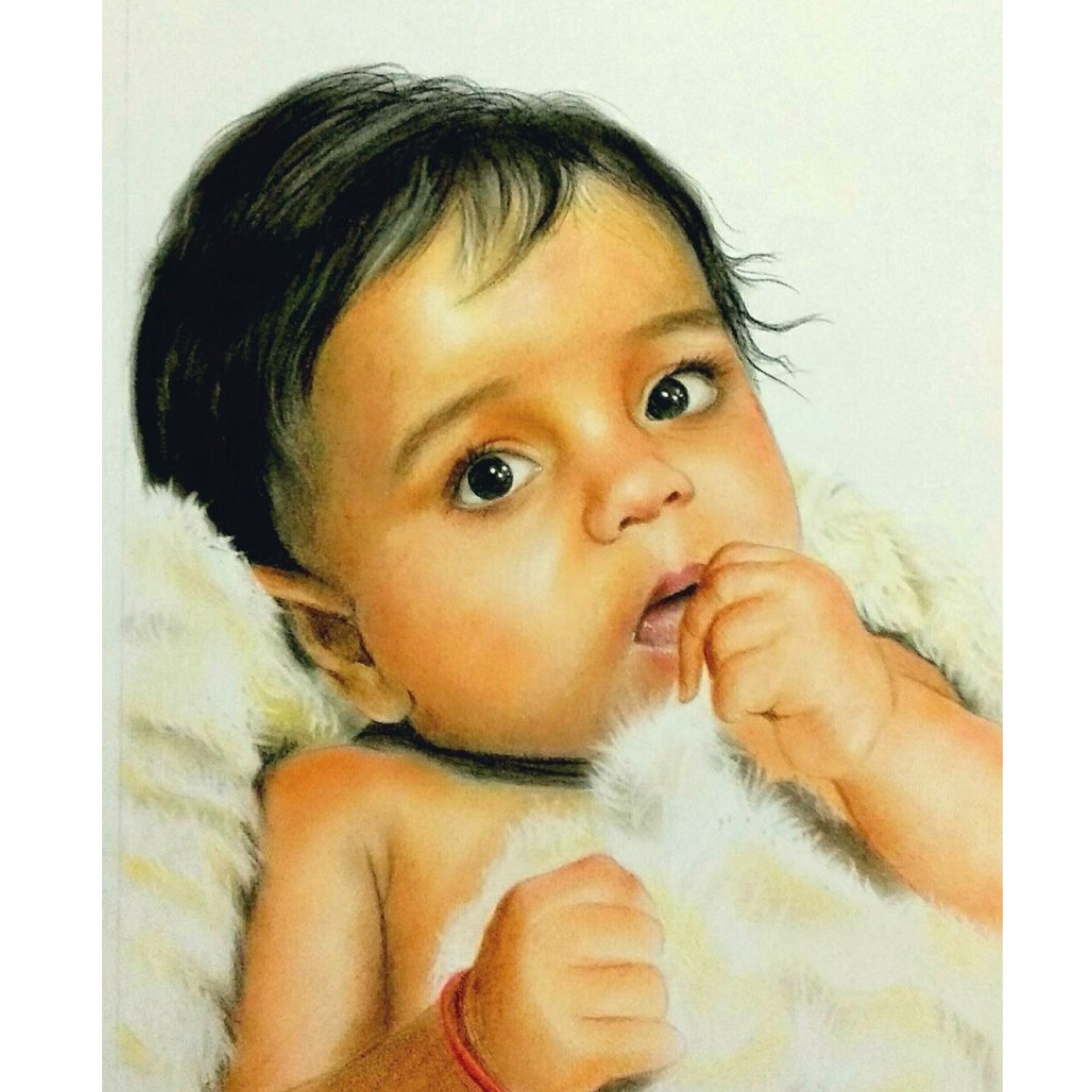Hand-painted Baby Oil Painting